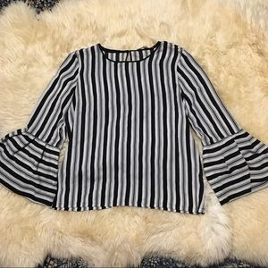Loft white with black stripes top